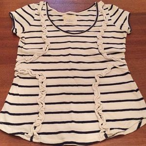 Anthropologie Little Yellow Button Top Striped M